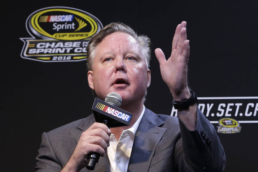 In this Nov. 20, 2016, file photo, NASCAR CEO and Chairman, Brian France, talks to reporters during a news conference before a NASCAR Sprint Cup auto race practice in Homestead, Fla. (AP Photo/Ala ...