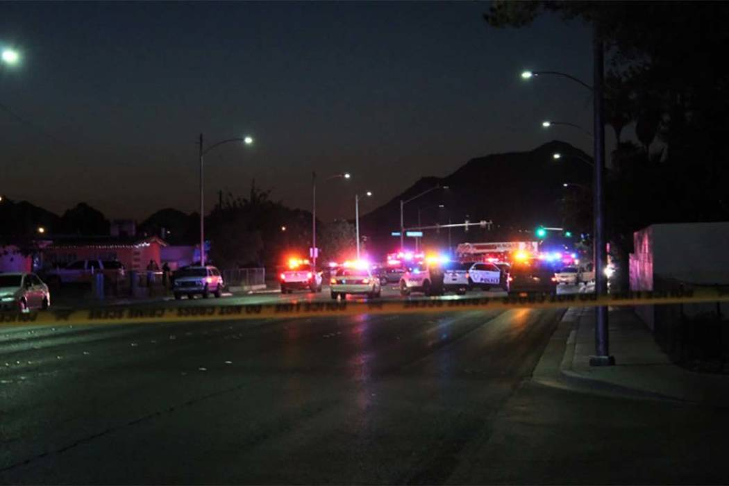 Officers from the North Las Vegas and Las Vegas police departments are on the scene Tuesday, Aug. 7, 2018, blocking Owens Avenue between Mojave Road and Lucilee Street. (Max Michor/Las Vegas/Revie ...