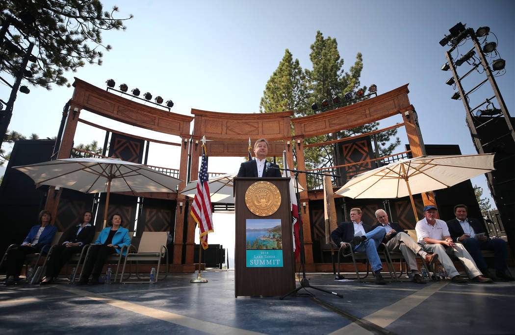 U.S. Sen. Dean Heller hosts the 22nd annual Lake Tahoe Summit, at Sand Harbor State Park, near Incline Village, Nev., on Tuesday, Aug. 7, 2018. (Cathleen Allison/Las Vegas Review-Journal)