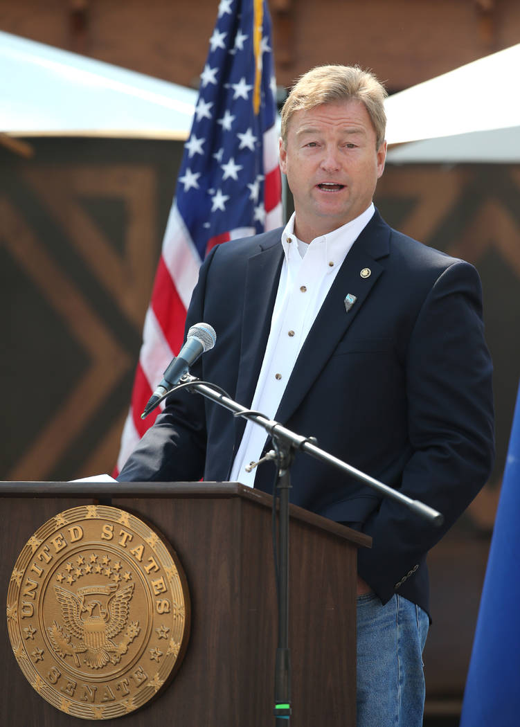 U.S. Sen. Dean Heller speaks at the 22nd annual Lake Tahoe Summit, at Sand Harbor State Park, near Incline Village, Nev., on Tuesday, Aug. 7, 2018. (Cathleen Allison/Las Vegas Review-Journal)