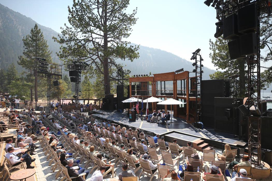 U.S. Sen. Catherine Cortez Masto, D-Nev., speaks at the 22nd annual Lake Tahoe Summit, at Sand Harbor State Park, near Incline Village, Nev., on Tuesday, Aug. 7, 2018. (Cathleen Allison/Las Vegas ...