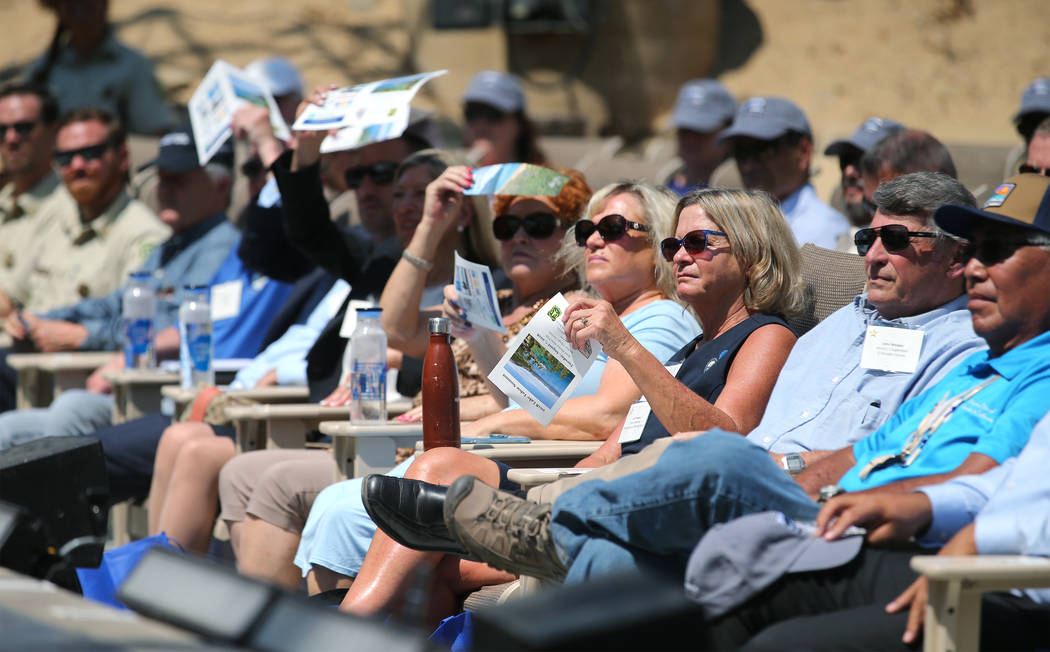 Federal, state and local officials gather for the 22nd annual Lake Tahoe Summit, at Sand Harbor State Park, near Incline Village, Nev., on Tuesday, Aug. 7, 2018. (Cathleen Allison/Las Vegas Review ...