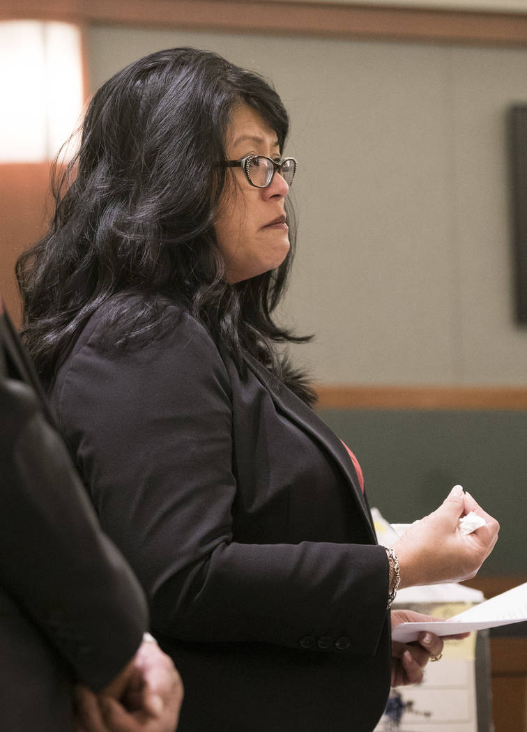 Lynn Pingol, mother of MaKayla Rhiner, talks about her daughter before District Judge Douglas Herndon at the Regional Justice Center in Las Vegas on Tuesday, Aug. 7, 2018. Brandon Hanson was sente ...