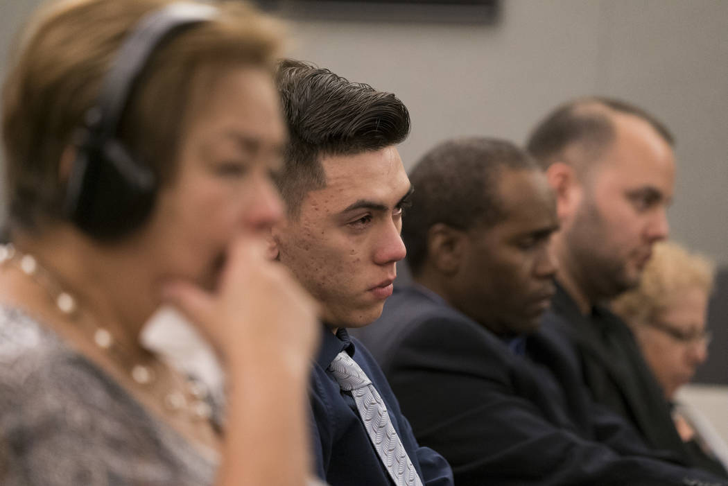 Keegan Rhiner, brother of MaKayla Rhiner, awaits a sentencing hearing at the Regional Justice Center in Las Vegas on Tuesday, Aug. 7, 2018. Brandon Hanson was sentenced to life in prison with poss ...