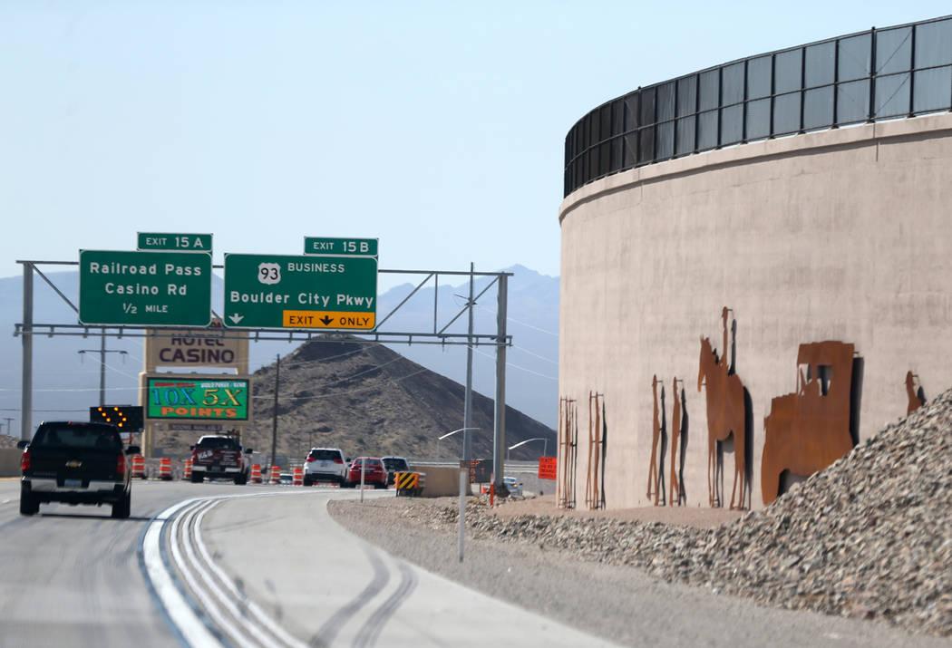 Art is seen on Interstate 11 near Railroad Pass Casino outside Boulder City Friday, Aug. 3, 2018. K.M. Cannon Las Vegas Review-Journal @KMCannonPhoto