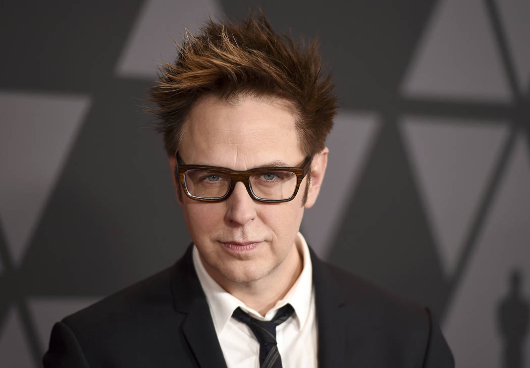 FILE - In this Nov. 11, 2017 file photo, director James Gunn arrives at the 9th annual Governors Awards in Los Angeles. Chris Pratt, Zoe Saldana, Bradley Cooper and six other main cast members of ...