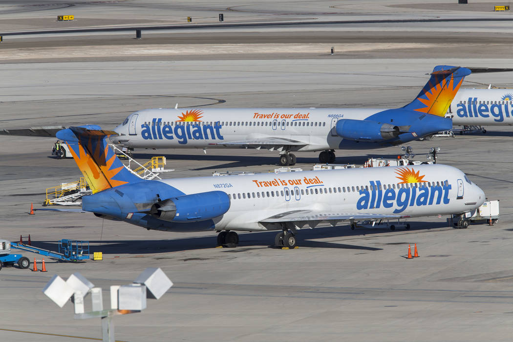 Allegiant Air passenger jets on the tarmac McCarran International Airport in Las Vegas, Sunday, January 28, 2018. Richard Brian/Las Vegas Review-Journal @vegasphotograph
