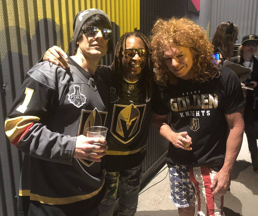 Criss Angel, Lil Jon and Carrot Top are shown at T-Mobile Arena during Game 1 of the Stanley Cup Final between the Golden Knights and Washington Capitals on Monday, May 28, 2018. (John Katsilomete ...