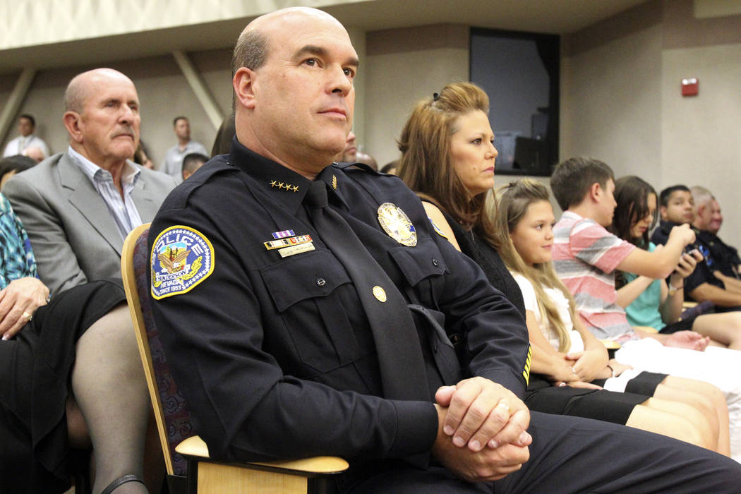 Henderson Police Chief Patrick Moers listens during a special City Council meeting at City Hall where he was sworn in Tuesday, July 17, 2012. (K.M. Cannon/Las Vegas Review-Journal)