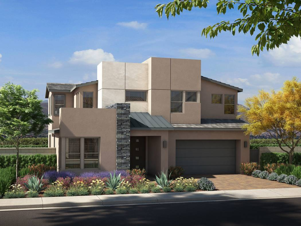 Pardee Homes will open Corterra in Henderson in late August. Shown is a rendering of Corterra Plan One B in the Desert Contemporary elevation. (Pardee Homes)