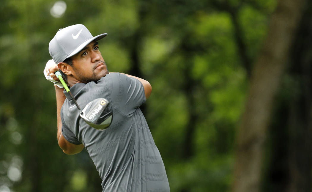 Tony Finau hits on the 17th tee during a practice round for the PGA Championship golf tournament Tuesday, Aug. 7, 2018, at Bellerive Country Club in St. Louis. (AP Photo/Charlie Riedel)