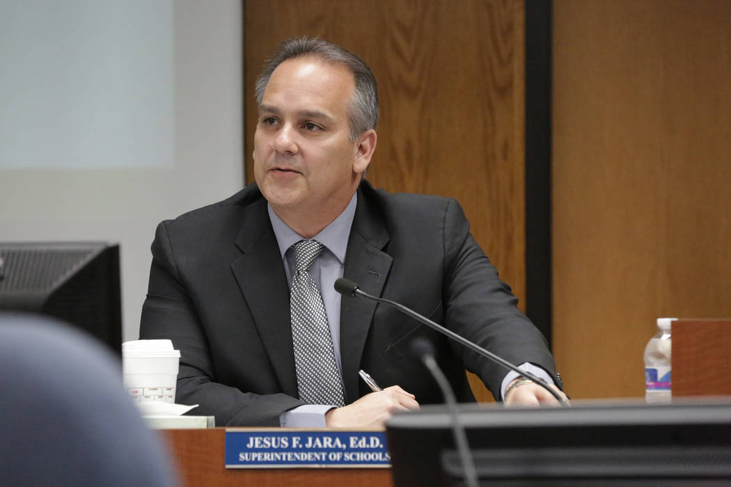 Clark County School District Superintendent, Jesus Jara, meets with school board trustees on Wednesday, July 11, 2018 at the CCSD boardroom. (Michael Quine/Las Vegas Review-Journal) @Vegas88s