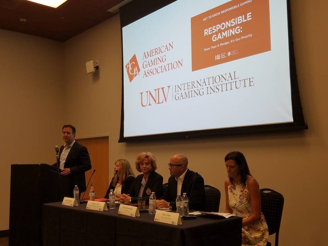 The American Gaming Association's panel on responsible gaming kicked off Responsible Gaming Education Week at UNLV's International Gaming Institute on Tuesday, Aug. 7, 2018. Bo Bernhard, executive ...