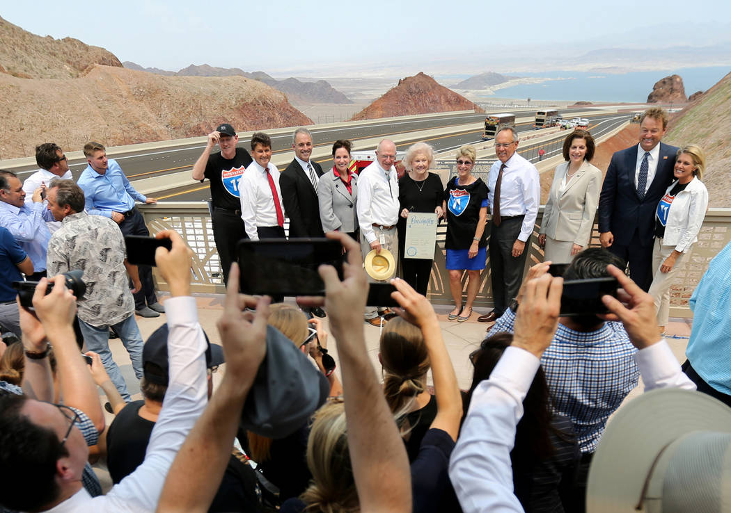 Elected officials and dignitaries at the Interstate 11 overlook during a ceremony marking the opening of a 12.5 mile section of the freeway, also known as the Boulder City Bypass, Thursday, Aug. 9 ...