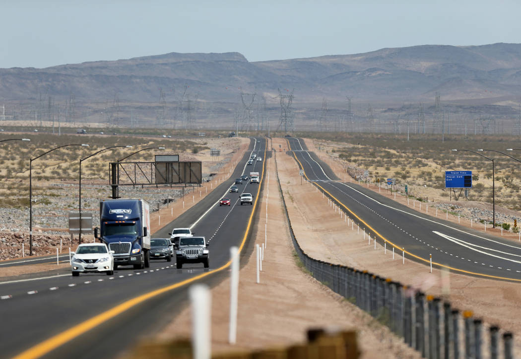 Traffic moves on the northbound lanes of Interstate 11 near U.S. Highway 95 after a ceremony marking the opening of a 12.5 mile section of the freeway, also known as the Boulder City Bypass, Thurs ...