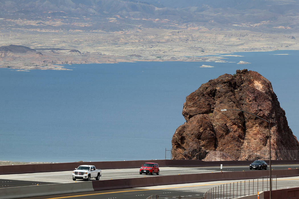 Traffic moves on the northbound lanes of Interstate 11 as seen from the scenic overlook after a ceremony marking the opening of a 12.5 mile section of the freeway, also known as the Boulder City B ...