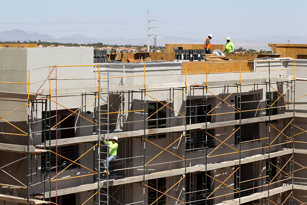 Construction on the 365-unit Elysian apartment complex on the southeast corner of Flamingo Road and Hualapai Way in Las Vegas in April. (K.M. Cannon RJRealEstate.Vegas)