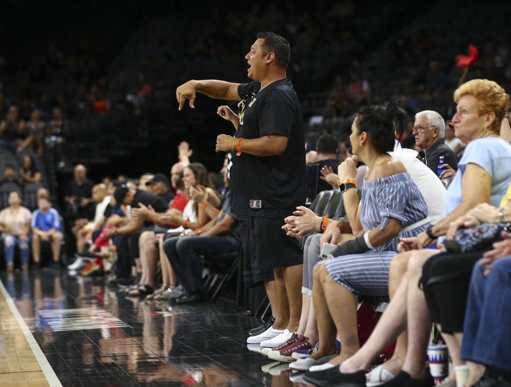 Las Vegas Aces fan Joseph Sada reacts during the first half of a WNBA basketball game against the Chicago Sky at Mandalay Bay Events Center in Las Vegas on Thursday, July 5, 2018. Chase Stevens La ...