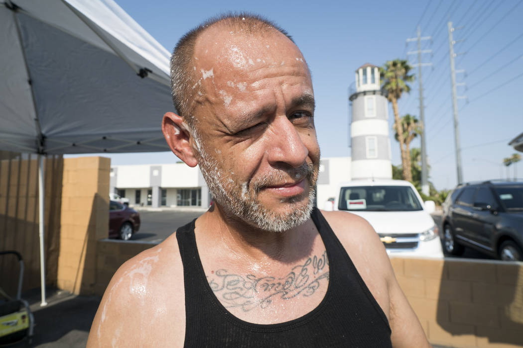 Manuel Serros, mobile car wash company owner, photographed at a car wash aimed at raising money to help pay Brandon Steckler Jr. at The Drop in Las Vegas, Thursday, Aug. 9, 2018. Steckler Jr. died ...