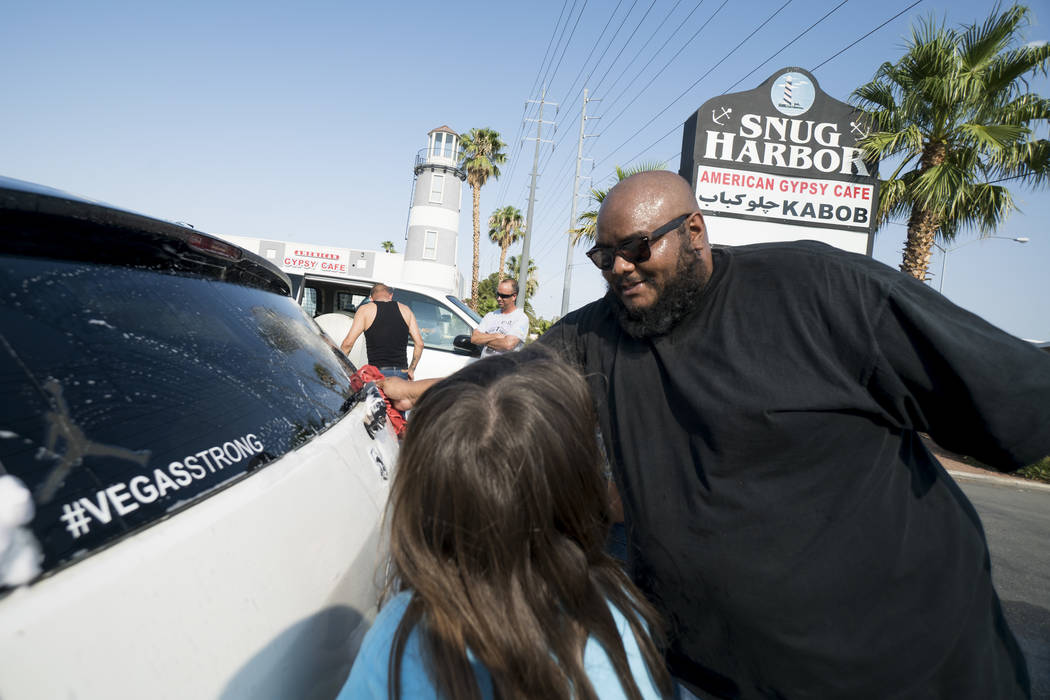 Kosbe helps raise money to pay funeral expenses for Brandon Steckler Jr. at The Drop in Las Vegas, Thursday, Aug. 9, 2018. Steckler Jr. died in a severe child abuse case on July 31. (Marcus Villag ...