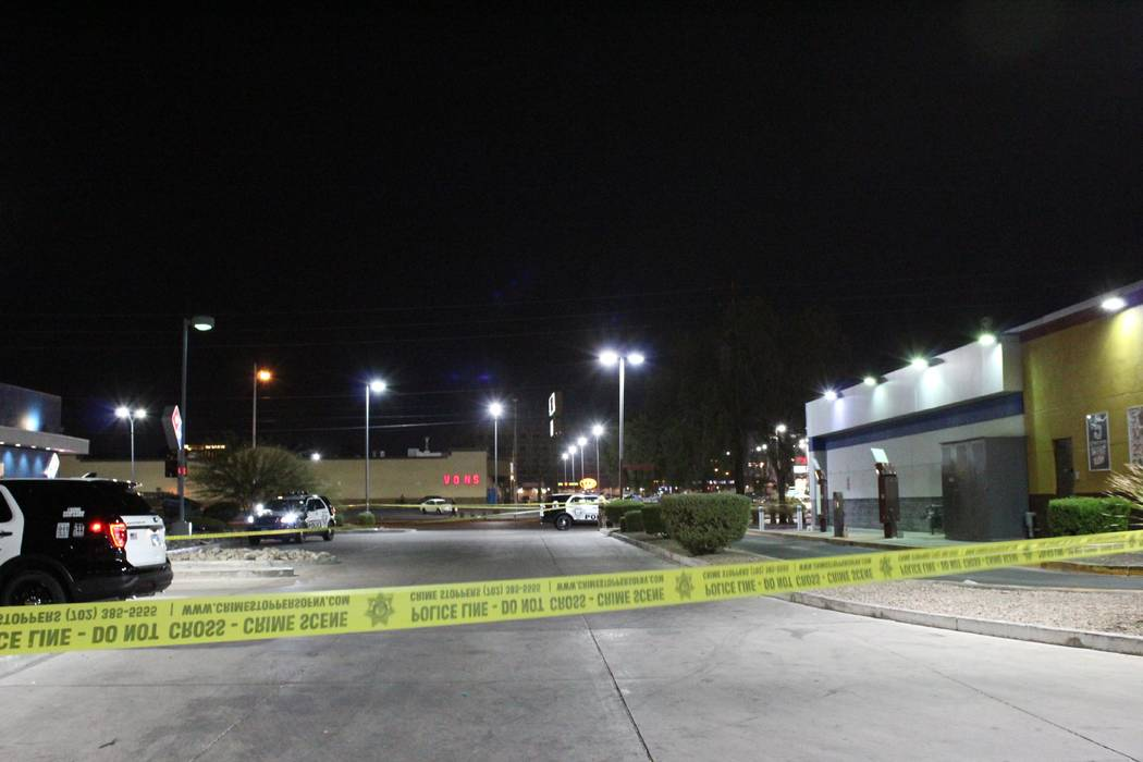 Las Vegas police are searching for a man who stabbed two people Tuesday, August 7, 2018, in a central valley parking lot. (Max Michor/Las Vegas Review-Journal)