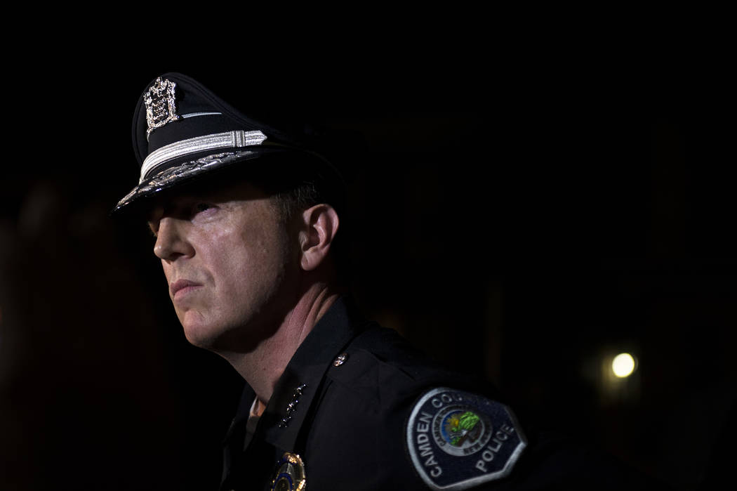 Camden County Police Chief J. Scott Thomson speaks during a news conference regarding two detectives who were shot in Camden, N.J., Tuesday, Aug. 7, 2018. Thomson said at least one suspect opened ...
