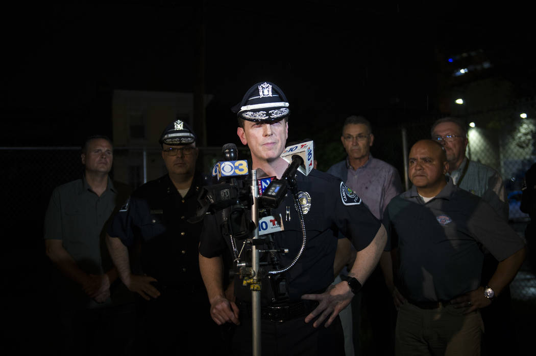Camden County Police Chief J. Scott Thomson speaks during a press conference regarding two detectives who were shot in Camden, N.J., Tuesday, Aug. 7, 2018. Thomson said at least one suspect opened ...