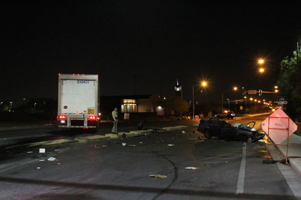 a sedan collided with a semitrailer in the south valley.