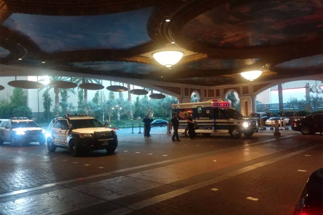 Las Vegas police are investigating a reported stabbing Wednesday morning, Aug. 8, 2018, at the Palazzo on the Las Vegas Strip. (Max Michor/Las Vegas Review-Journal)