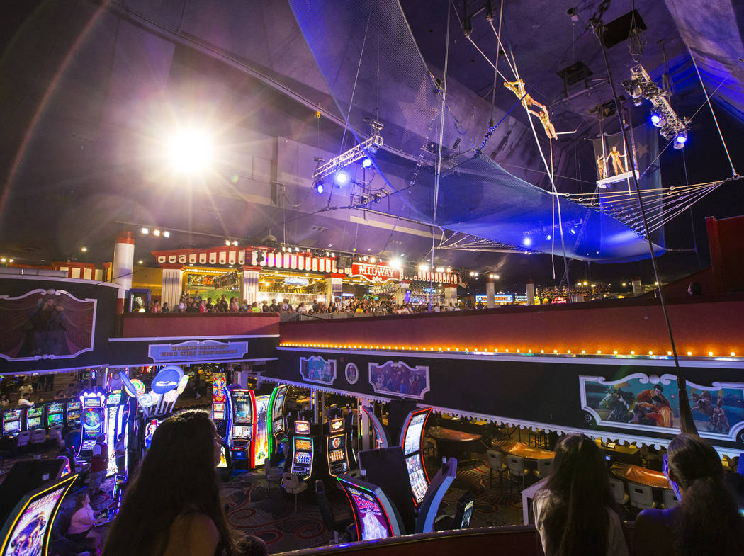 The Flying Poemas perform at the carnival midway above the casino floor at Circus Circus in Las Vegas on Saturday, June 23, 2018. Chase Stevens Las Vegas Review-Journal @csstevensphoto