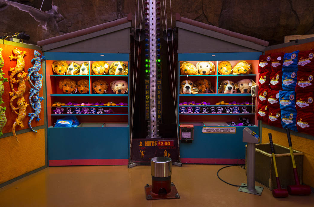 Prizes lined up at a carnival game at the Adventuredome at Circus Circus in Las Vegas on Friday, June 22, 2018. Chase Stevens Las Vegas Review-Journal @csstevensphoto