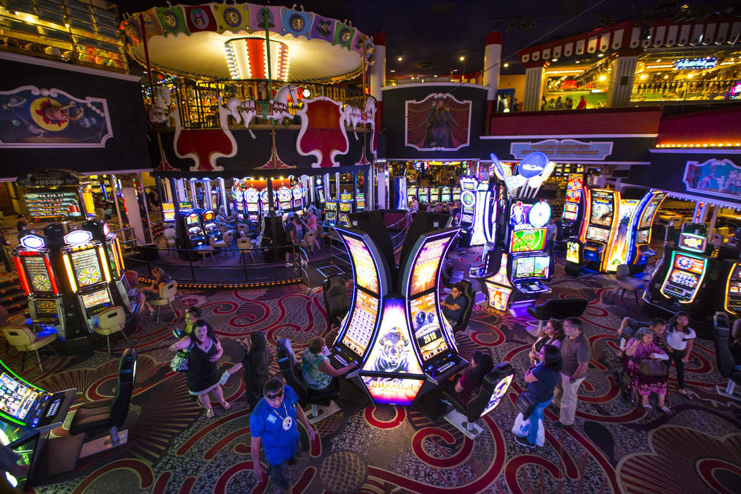 The carnival midway rises above the gaming floor at Circus Circus in Las Vegas on Friday, June 22, 2018. Chase Stevens Las Vegas Review-Journal @csstevensphoto