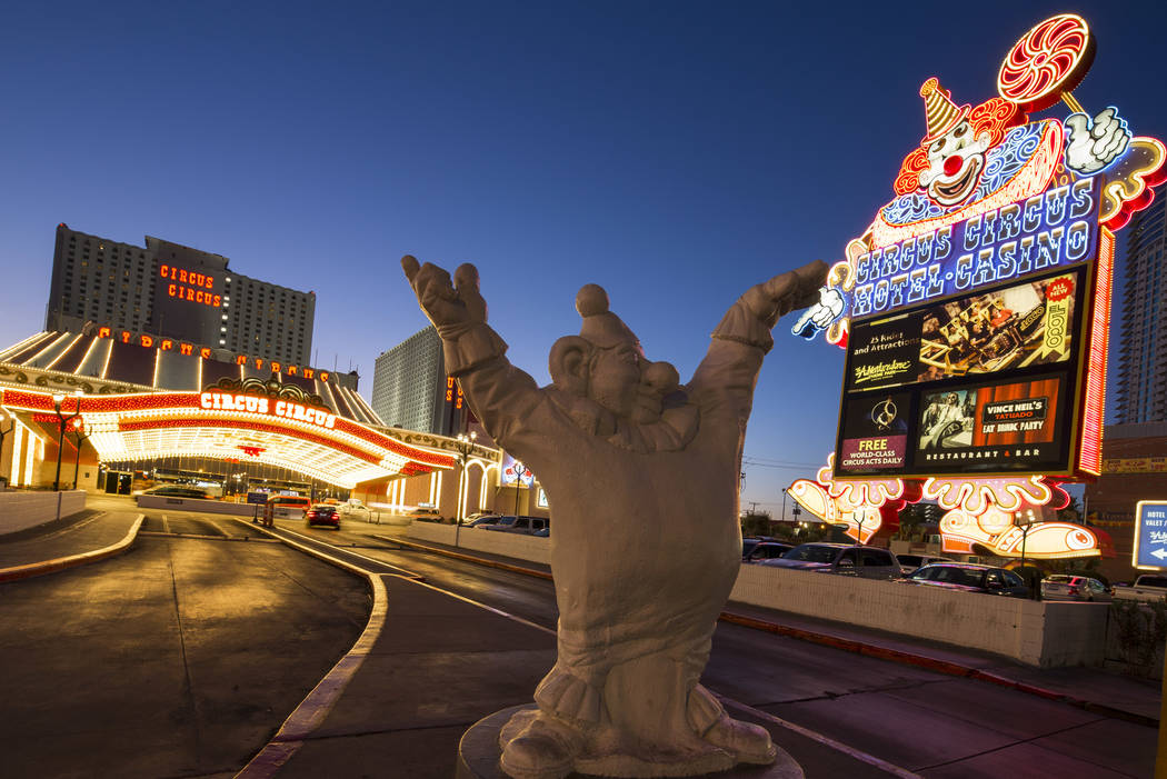 The Clown marquee at the entrance to MGM's Circus Circus hotel-resort in Las Vegas on Monday, June 18, 2018. Richard Brian Las Vegas Review-Journal @vegasphotograph