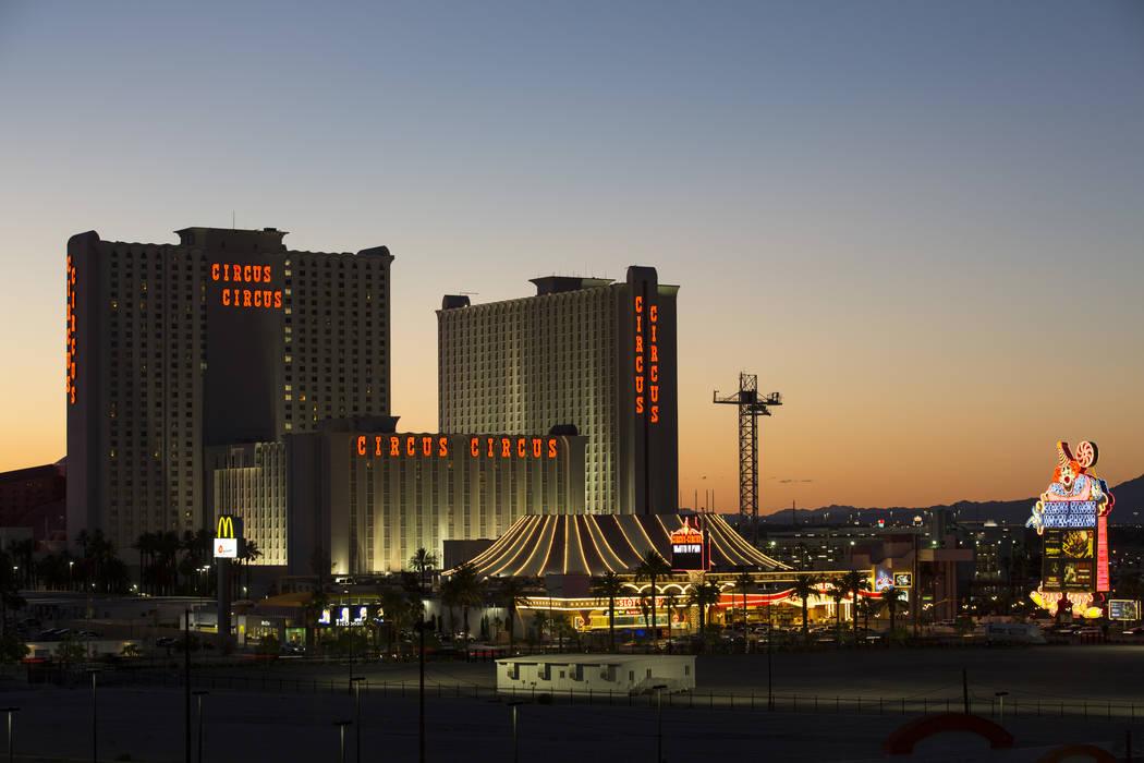 MGM's Circus Circus hotel-resort at sunset in Las Vegas on Thursday, June 21, 2018. Richard Brian Las Vegas Review-Journal @vegasphotograph
