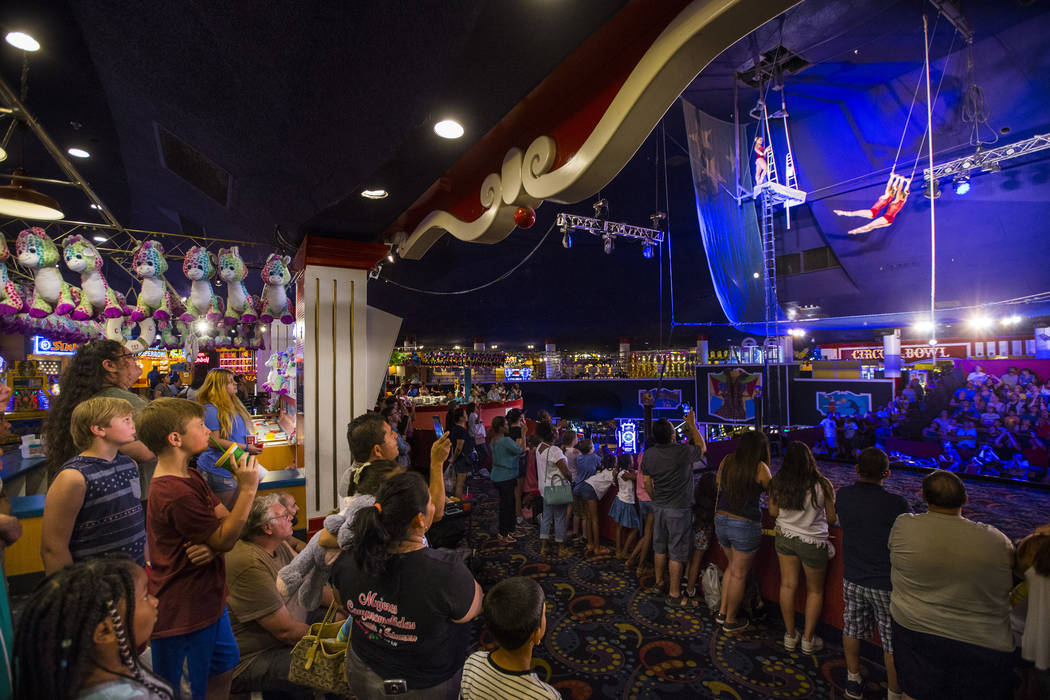 The Flying Poemas perform at the carnival midway at Circus Circus in Las Vegas on Friday, June 22, 2018. Chase Stevens Las Vegas Review-Journal @csstevensphoto
