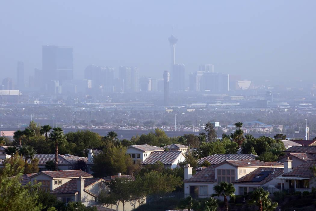 Haze hangs over the Las Vegas Valley as seen from Seven Hills south of Las Vegas on Wednesday, Aug. 8, 2018. (Bizuayehu Tesfaye/Las Vegas Review-Journal) @bizutesfaye