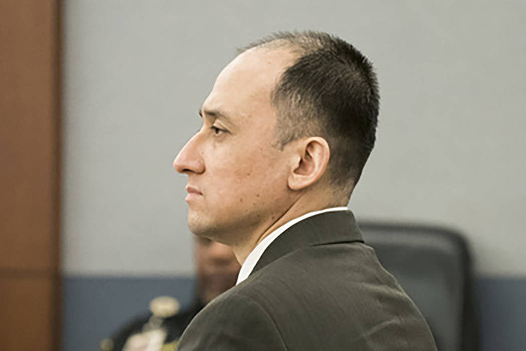 Walter Laak listens to the trial proceedings at the Regional Justice Center in Las Vegas, Wednesday, Aug. 8, 2018. Las Vegas Marine Walter Laak has multiple assault charges. (Marcus Villagran/Las ...