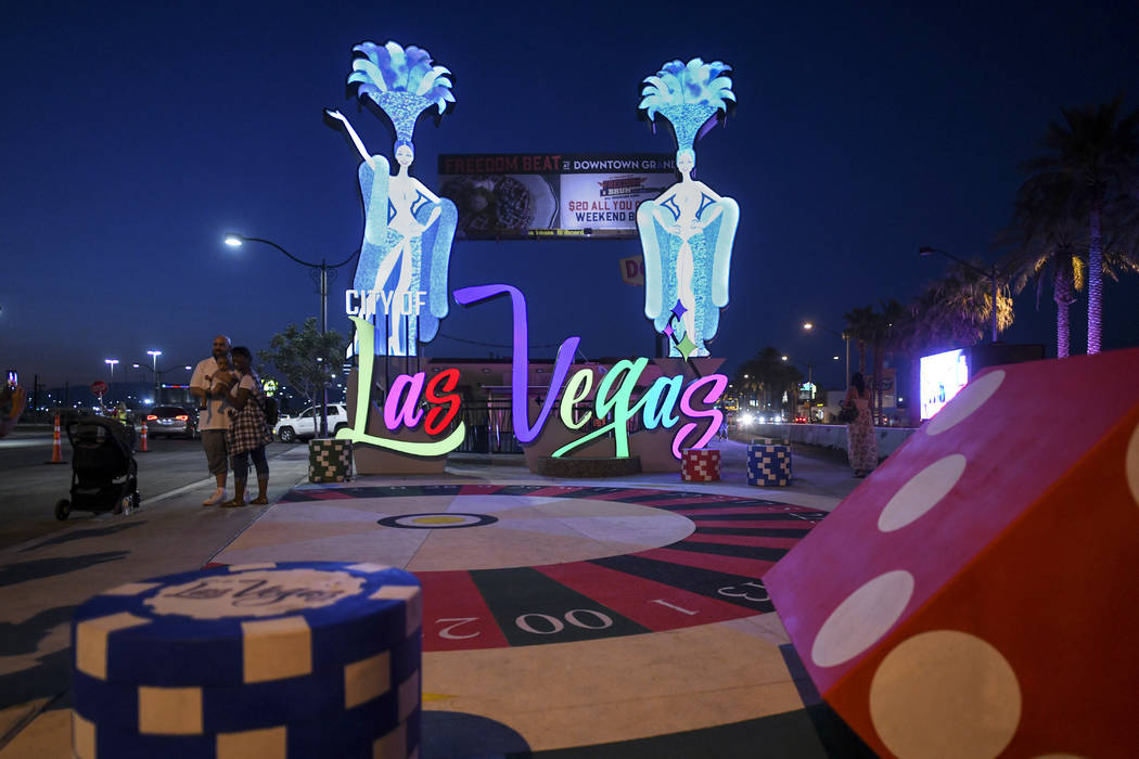 A new Las Vegas gateway sign is lit up after being dedicated Tuesday, August 7, 2018. (Sam Morris/Las Vegas News Bureau)
