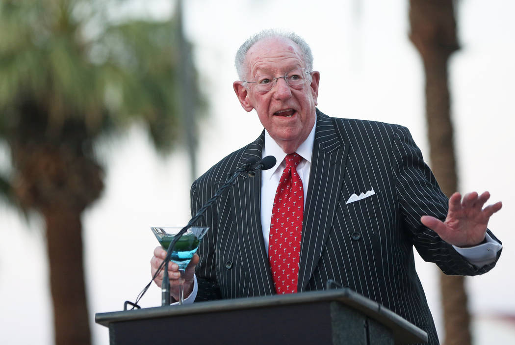 Former Las Vegas Mayor Oscar Goodman speaks during a dedication ceremony for the city's new gateway sign greeting visitors heading north on Las Vegas Boulevard near the Stratosphere on Tuesday, Au ...