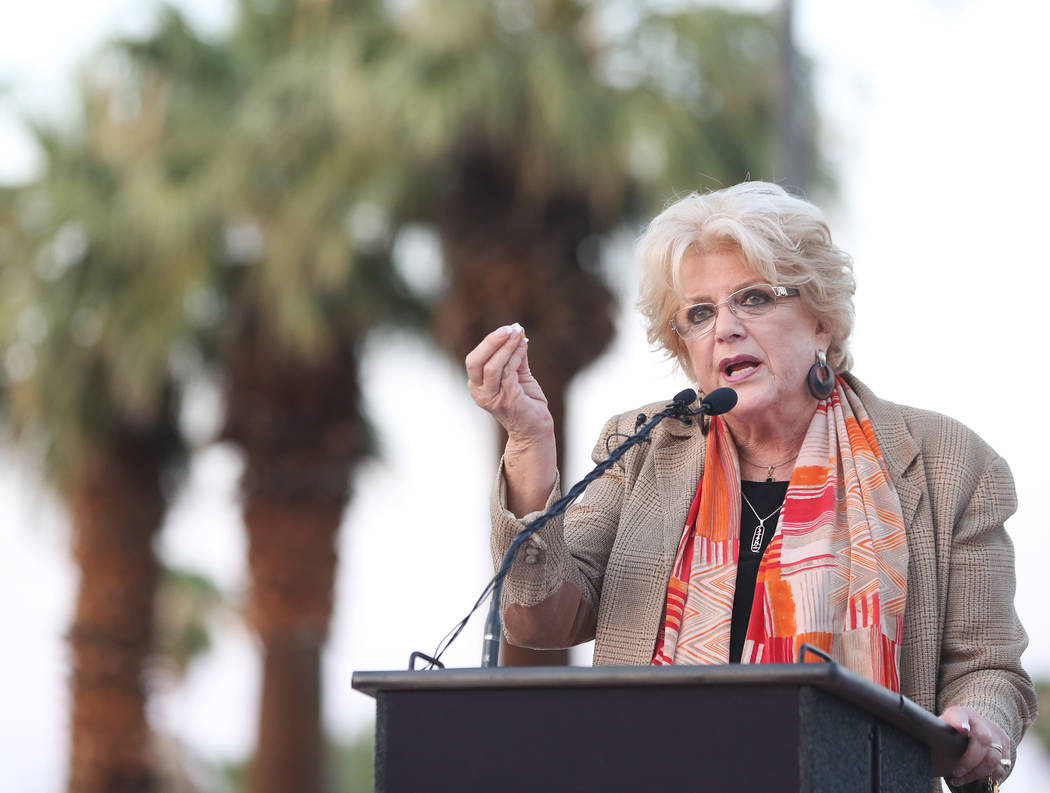 Las Vegas Mayor Carolyn Goodman speaks during a dedication ceremony for the city's new gateway sign greeting visitors heading north on Las Vegas Boulevard near the Stratosphere on Tuesday, Aug., 7 ...
