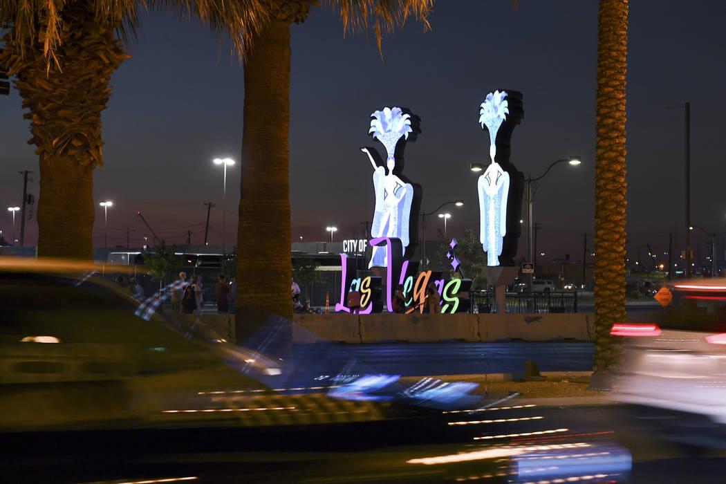Traffic travels on Las Vegas Boulevard after as a new Las Vegas gateway sign was dedicated Tuesday, August 7, 2018. (Sam Morris/Las Vegas News Bureau)