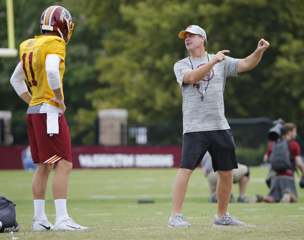 Washington Redskins head coach, Jay Gruden, right, directs quarterbacks, Alex Smith (11) during the morning session of the Redskins NFL football training camp in Richmond, Va., Tuesday, July 31, 2 ...