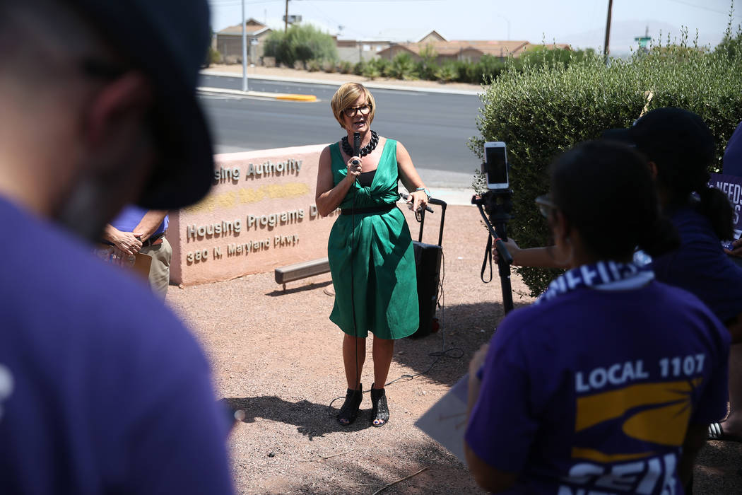 Nevada congressional candidate Susie Lee speaks in support of Service Employees International Union (SEIU) Nevada Local 1107 members protesting the Southern Nevada Regional Housing Authority, 380 ...
