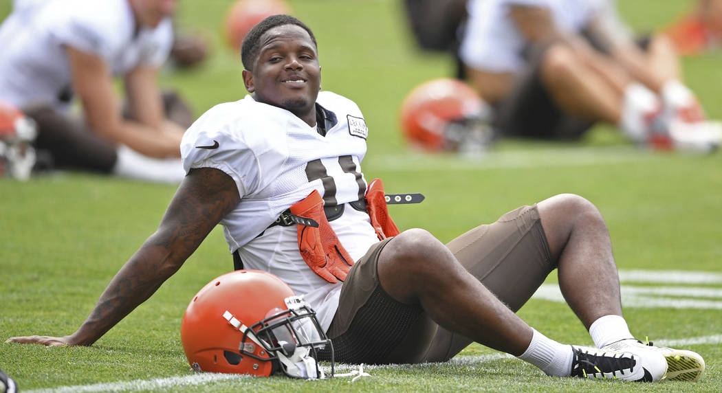 Cleveland Browns wide receiver Antonio Callaway stretches during NFL football training camp, Tuesday, Aug. 7, 2018, in Berea, Ohio. Callaway was cited for marijuana possession, the latest drama fo ...