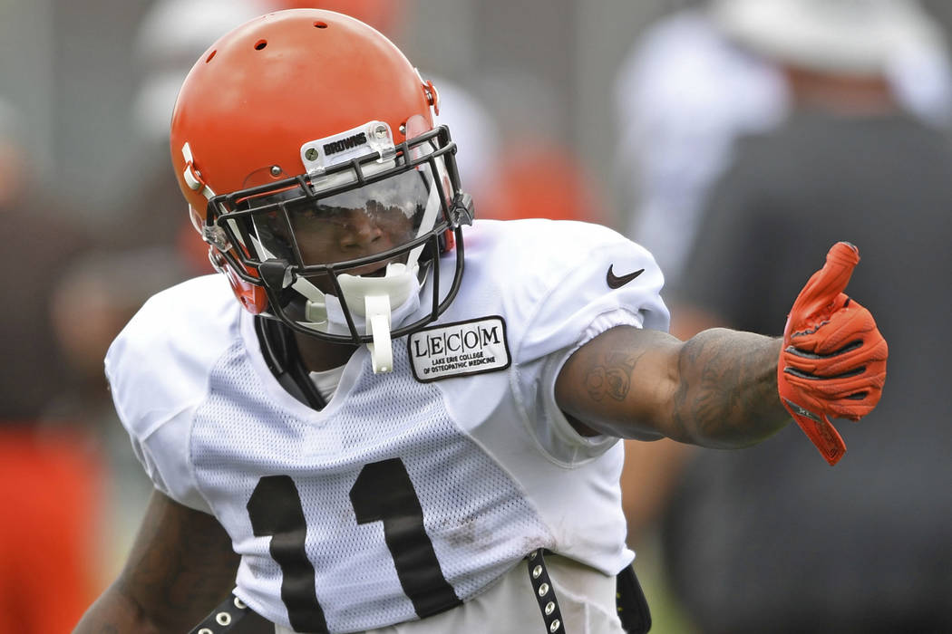 Cleveland Browns wide receiver Antonio Callaway gets lined up during NFL football training camp, Tuesday, Aug. 7, 2018, in Berea, Ohio. Callaway was cited for marijuana possession, the latest dram ...