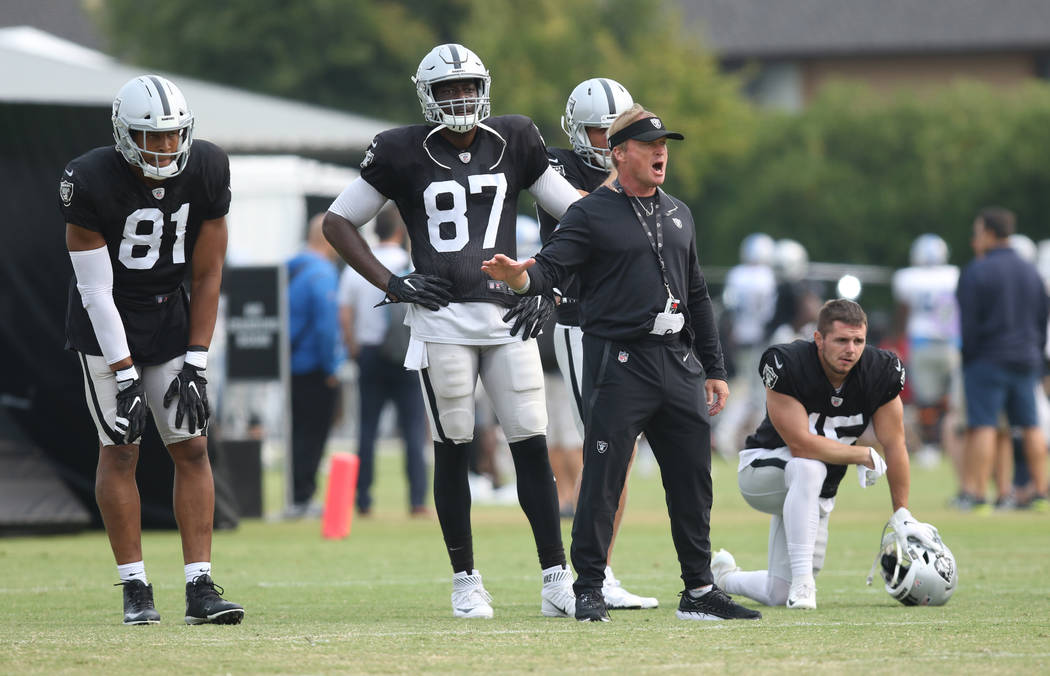 Oakland Raiders head coach Jon Gruden directs the offense as tight ends Pharaoh Brown (81), Jared Cook (87), and wide receivers Jordy Nelson (82) and Ryan Switzer (15) listen in at the team's NFL ...