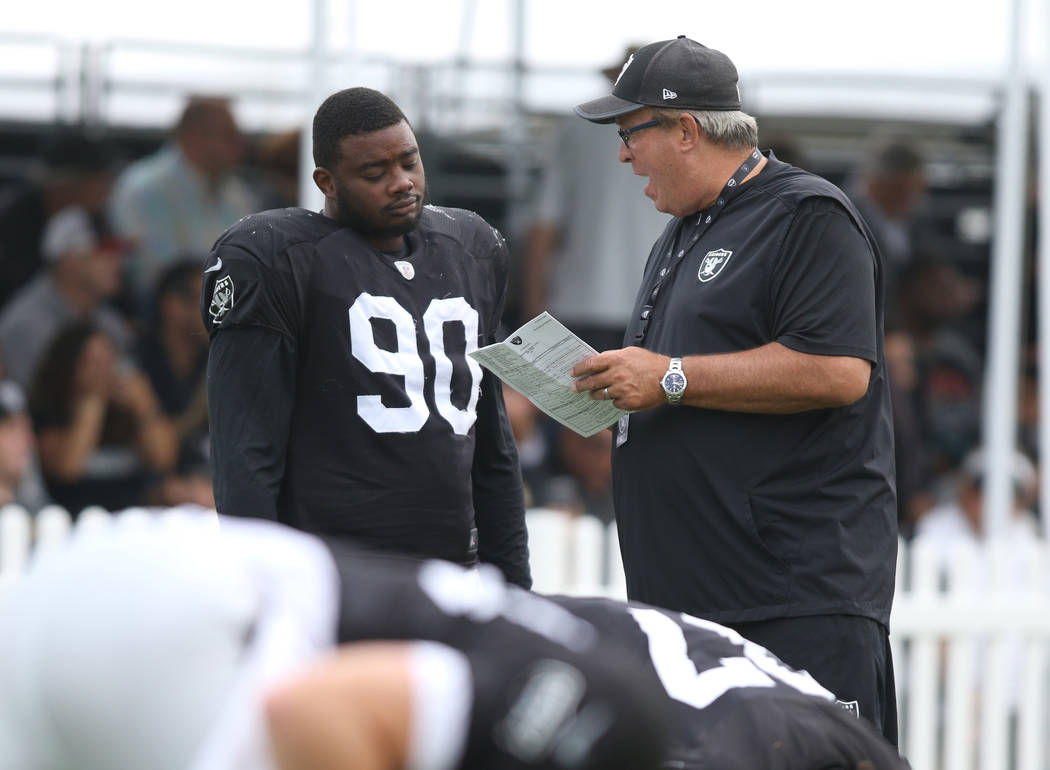 Oakland Raiders defensive tackle Treyvon Hester (90) meets with defensive line coach Mike Trgovac at the team's NFL training camp in Napa, Calif., Wednesday, Aug. 8, 2018. Heidi Fang Las Vegas Rev ...