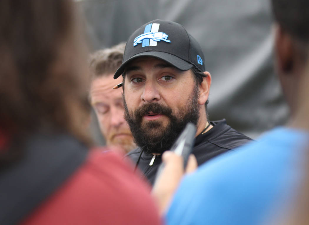 Detroit Lions head coach Matt Patricia answers question from the media at a joint practice with the Oakland Raiders in Napa, Calif., Wednesday, Aug. 8, 2018. Heidi Fang Las Vegas Review-Journal @H ...