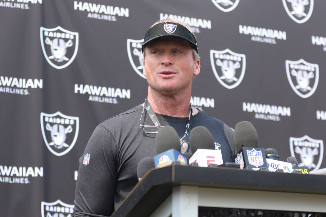 Oakland Raiders head coach Jon Gruden replies to media questions at the team's NFL training camp in Napa, Calif., Wednesday, Aug. 8, 2018. Heidi Fang Las Vegas Review-Journal @HeidiFang