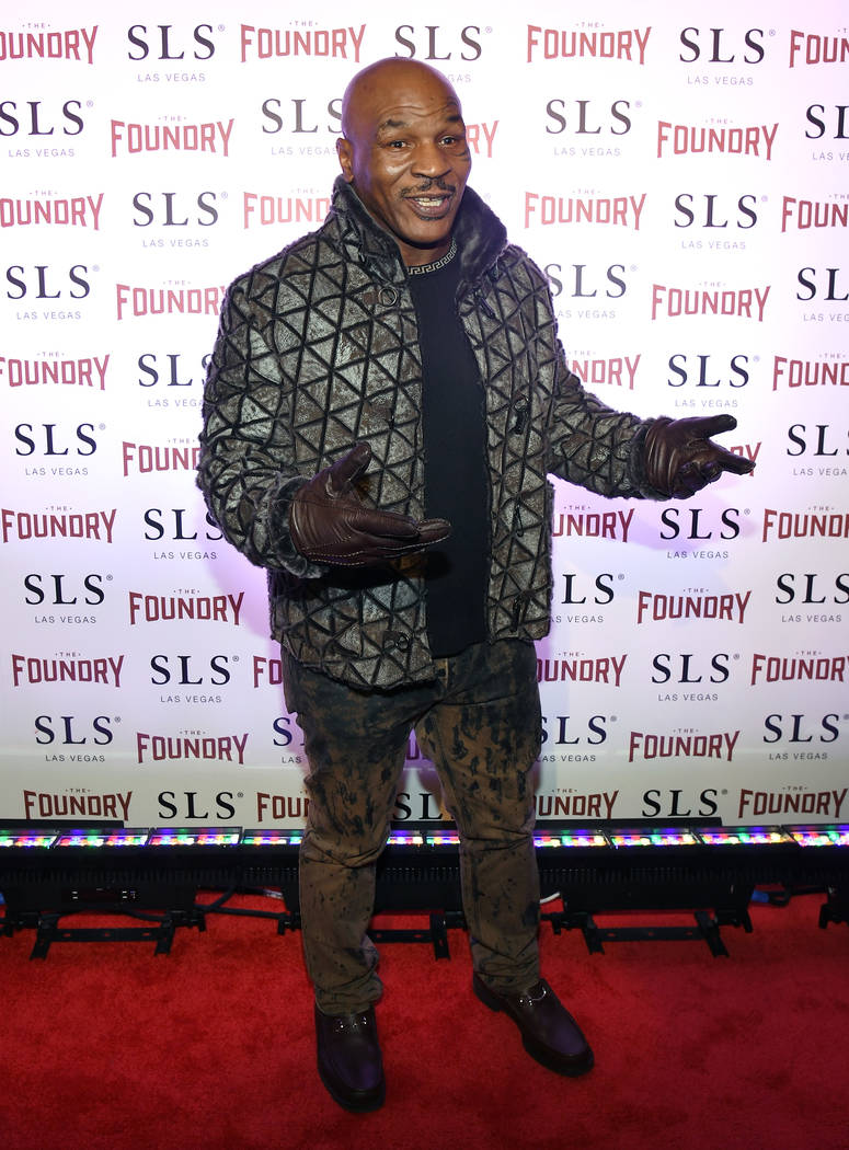 "Mike Tyson arrives at the kickoff of Dana Carvey and Jon Lovitz's 20-show residency ""Reunited"" at The Foundry at SLS Las Vegas on Friday, Jan. 6, 2017, in Las Vegas. (Ethan Miller/Getty Images for ..."